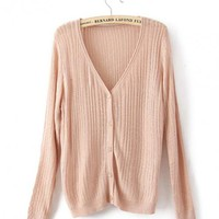 Pink  V Neck Slim Sweater$43.00