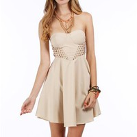 Beige Strapless Side Cage Dress