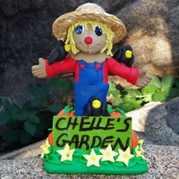 Personalized Polymer Clay Garden Scarecrow with Pumpkins Flowers Crows