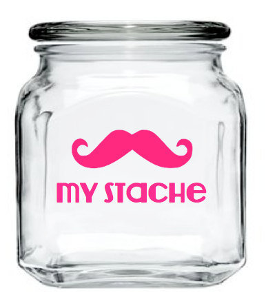 My Stache Jar - Mustache Glass Jar - Hot Pink - 32 oz. Money Jar