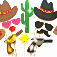 Photo Booth Props - The Deluxe Western Wedding Collection - 12 piece prop set - Birthdays, Weddings, Parties - GLITTER Photobooth Props