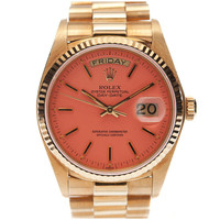 1STDIBS.COM Jewelry &amp; Watches - Rolex - ROLEX All-Original Pink &quot;Stella&quot; Dial Yellow Gold Day-Date - Fourtane