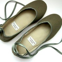 Ecochic Handmade Vegan Flats in Olive Green 902D by TheGeneration
