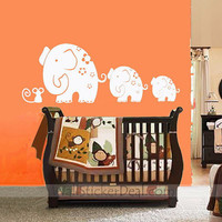 Mom and Baby Elephants Play With Mouse Wall Stickers – WallStickerDeal.com
