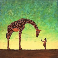 Giraffe Art Print  ALL GOD'S CHILDREN  by by paintallnightstudios