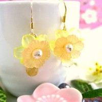 Resin peach cherry blossom citrine earrings