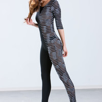 Half 'N Half Slivered Mesh Jumpsuit