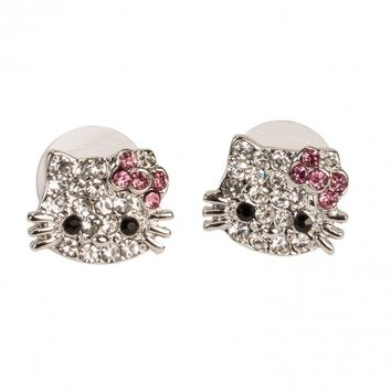 Hello Kitty Silver Small Face & Bow Stud Earrings w/ Crystal Rhinestones