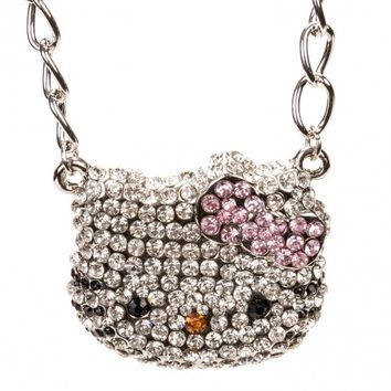 Hello Kitty Silver Thick Face & Bow Necklace w/ Crystal Rhinestones