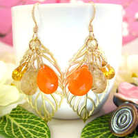 Fall leaf gold earrings with carnelian, citrine, golden rutilated quartz