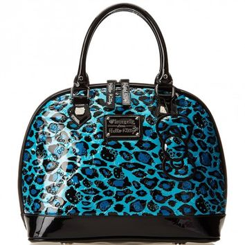 Hello Kitty Blue Leopard Embossed Patent Dome Top Handle Handbag