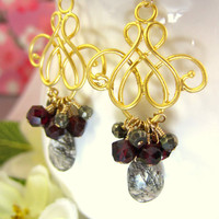 Black Rutilated Quartz Pyrite Gold Chandelier Earrings
