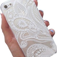 "Acefast INC Plastic Case Cover for for Apple Iphone6 4.7"" Iphone6 5.5"" Henna White Floral Paisley Flower Mandala (For Iphone 6 4.7"")"