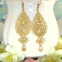 Gold peacock chandelier rutilated quartz earrings