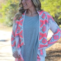 Have It Your Way Cardigan: Neon Coral - Lavish Boutique