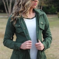 Miles Away Jacket: Olive - Lavish Boutique