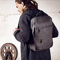 Coated canvas laptop back pack with distressed leather men - $118.60 : Notlie handbags, Original design messenger bags and backpack etc