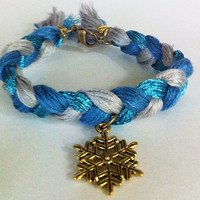 Blue silver gold braided bracelet with snowflake charm, braided bracelet, snowflake bracelet, frozen bracelet, Christmas jewelry, textile