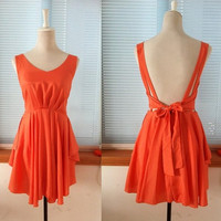 Vintage Cocktail Chiffon Knee Sundress Summer Dress Beach Dress Sleevesless Backless Open Back Prom Party Bridesmaid  Dress Bow Sash Black