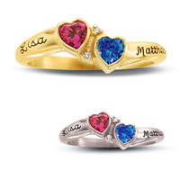 10K Gold Synthetic Birthstone and Cubic Zirconia Couple's Valentine Ring by ArtCarved® (2 Stones and Names)