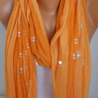 Orange Scarf Shawl Scarf Fringe Scarf Cowl Scarf Bridesmaid Gift Gift Ideas for Her Women Fashion Accessories Christmas Gift
