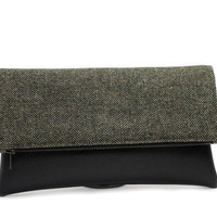 Olive Green Foldover Clutch Bag, Wool Leather Bag,Dark Green Clutch,Wool Fold Over Purse,Large Clutch Bag,Faux Leather Bag,Large Fold Clutch