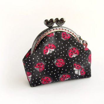 Red Ladybugs Coin Purse, Black Heart Kisslock Purse