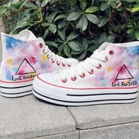 Women's Triangle Pattern Hand Painted High Top Canvas Sneakers