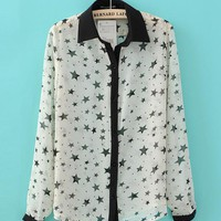 Stars Retro Chiffon Shirt White$41.00