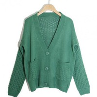 Green Double Pocket Knitted Sweater$40.00