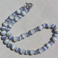 Lavender &amp; Dove Grey Cat&#x27;s Eye Gemstone Necklace - &quot;Cat&#x27;s Whiskers&quot;