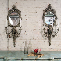 Painted Cottage Chic Shabby Silver Slipper Romantic Sconces MR276