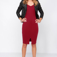 LULUS Exclusive Perfect Physical Fit-ness Wine Red Midi Dress