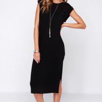 A Kiss Away Black Midi Dress