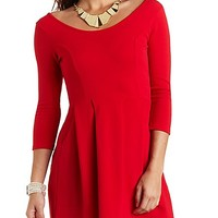 Pleated Side Pocket Skater Dress by Charlotte Russe - Red
