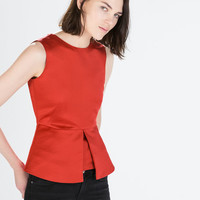 Back zip peplum top