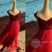 Bridesmaid Silk Chiffon Infinity Wedding Dress - Red