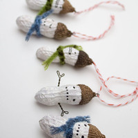 3 Mini Holiday Ornaments - funny painted snowman peanuts