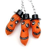 3 Halloween Jack o Lantern Peanut Ornaments - whimsical folk art, Halloween decor, hand painted peanuts