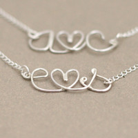 love letter initial necklace. lovers personalized initials. tiny heart. sterling silver wire NECKLACE. boyfriend girlfriend necklace.