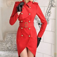 Red double breasted tight long-sleeved windbreaker Tulip self (with belt)_Fashion Coats_Mili fashion Trade Co.Ltd
