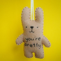 Felt Ornament Bunny - You're Pretty on Luulla