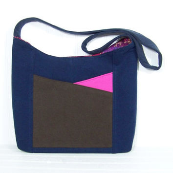 Ecofriendly purse, modern colorblock, Upcycled fabric, handmade bag