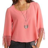 Crochet-Cuffed High-Low Crop Top by Charlotte Russe - Coral