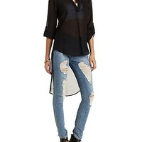 Cross-Back High-Low Tunic Top by Charlotte Russe - Black