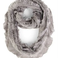 Ruffle Winter Knit Infinity Scarf with Fur