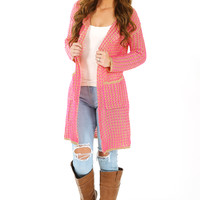 Get Friendly By The Fire Cardigan: Neon Pink/Taupe