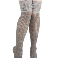 ModCloth Boho Put Your Strut In Me Thigh Highs in Stone
