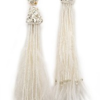 Oscar de la Renta Feather Tassel Earrings