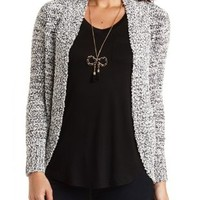 Popcorn Cocoon Cardigan by Charlotte Russe - Black Combo